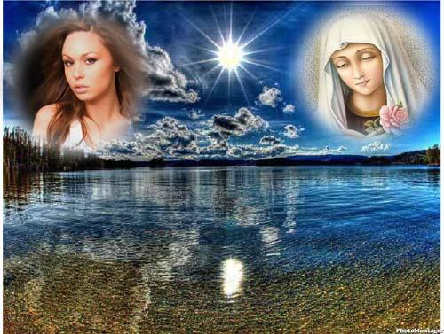 Fotomontajes cristianos con la Virgen María en el Cielo