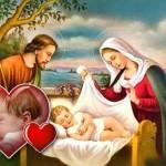 Fotomontaje de pesebre de Navidad