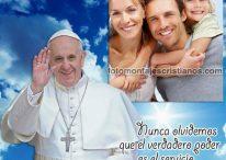 Fotomontaje del Papa Francisco con frase