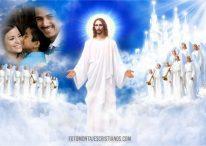 Fotomontaje de Jesús con sus ángeles en el Cielo