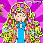 Fotomontaje de la Virgen de Guadalupe en dibujo