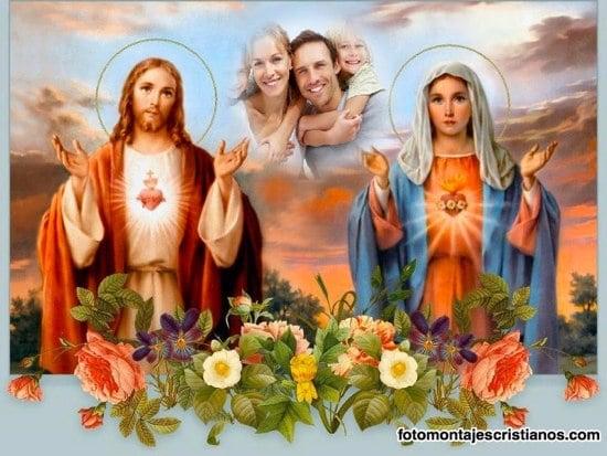Fotomontajes del Sagrado Corazón de Jesús y la Virgen María ...
