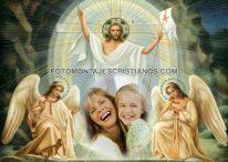 Fotomontaje de Jesús con Ángeles