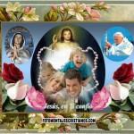 Fotomontaje con Jesús, el Papa Juan Pablo II y la Vírgen de Guadalupe