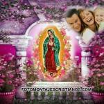 Hermoso fotomontaje de la Vírgen de Guadalupe con flores