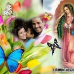 Fotomontaje de la Vírgen de Guadalupe con flores y mariposas