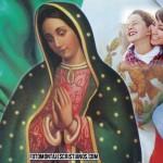 Fotomontaje con la Vírgen de Guadalupe y la bandera de México