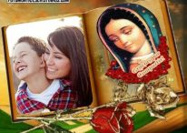 Fotomontaje cristiano de libro con la Vírgen de Guadalupe
