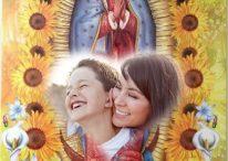 Fotomontaje cristiano con la Vírgen, angelitos y flores