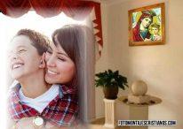 Fotomontaje cristiano de cuadro con la imagen de la Vírgen María
