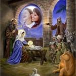 Fotomontaje de Navidad con la imagen del nacimiento de Jesús