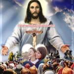 Fotomontaje cristiano de Jesús con sus fieles