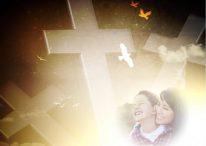 Fotomontaje cristiano con cruces