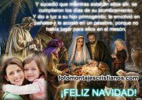 Fotomontaje cristiano de Navidad con el nacimiento de Jesús