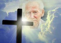 Fotomontaje con una Cruz para despedir a un fallecido
