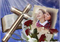 Fotomontaje junto a la Biblia y la Cruz