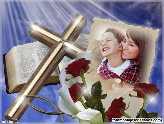 fotomontaje biblia y cruz