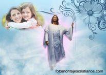 Poner mi foto al lado de Dios y Jesús en el cielo